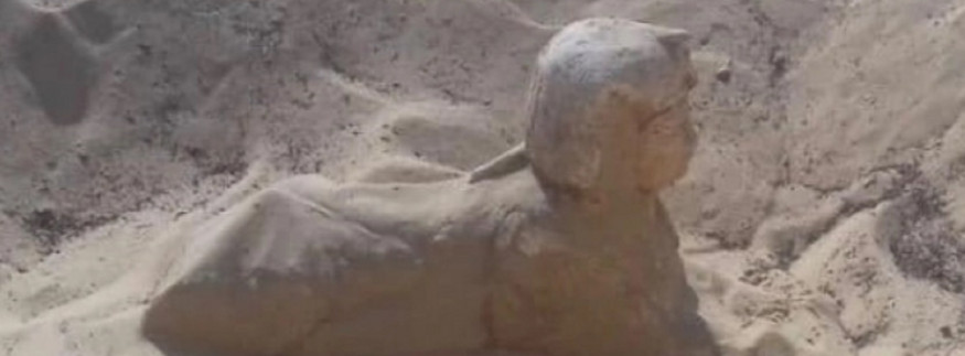 Small Sphinx Statue Uncovered in Minya