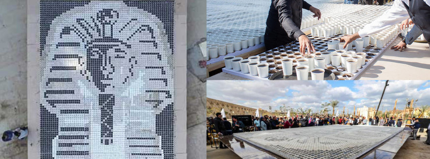 Egypt Attempts a Guinness World Record for Largest Coffee Cup Mosaic